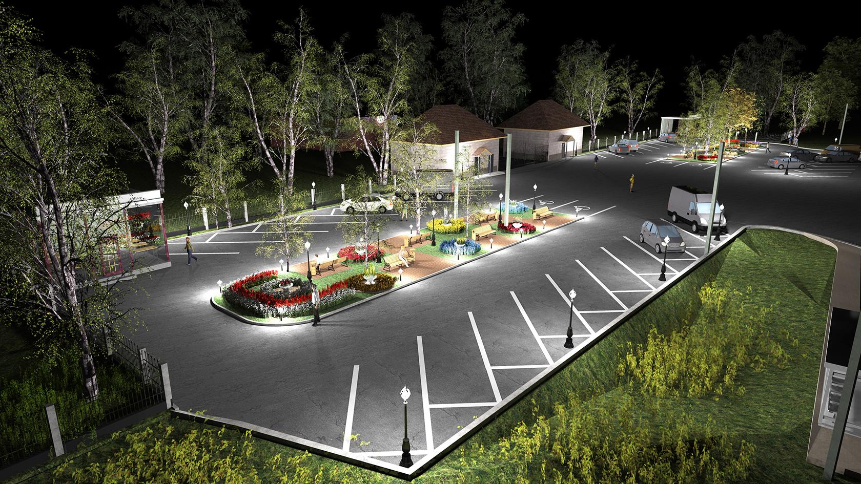 услуги по обустройству территорий производственных комплексов, услуги по обустройству парковочных площадок