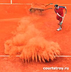 Строительство теннисных кортов с грунтовым покрытием из теннисита.  Купить теннисит.